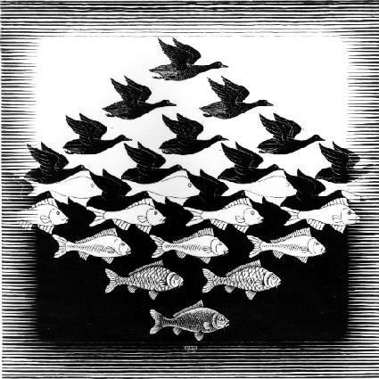 Sky and Water I is a woodcut print by the Dutch artist M. C. Escher first printed in June 1938.